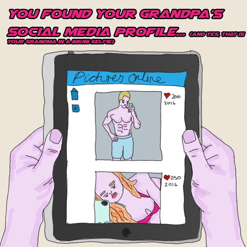 looking at your grandfather's instagram account on a tablet computer