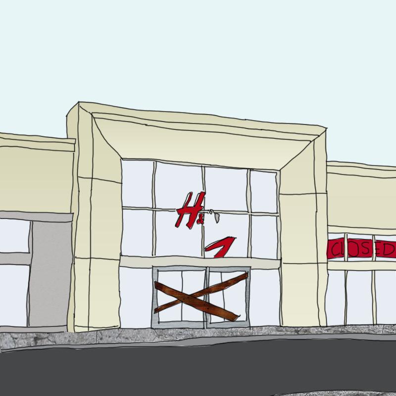 a derelict H&M store