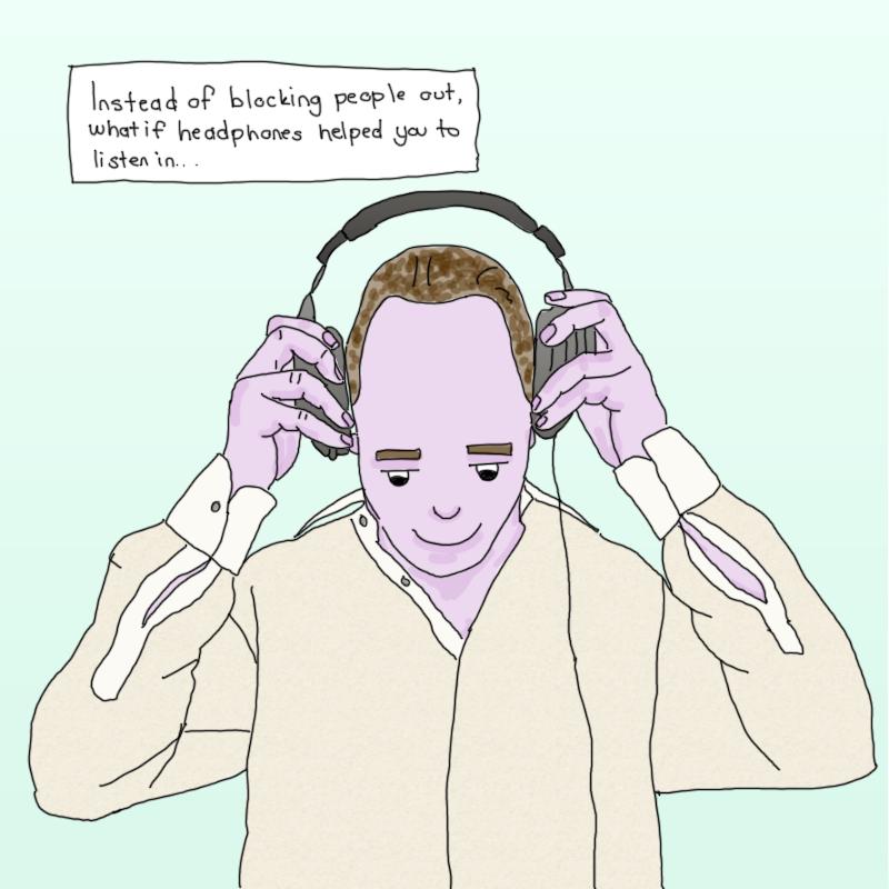 putting on headphones